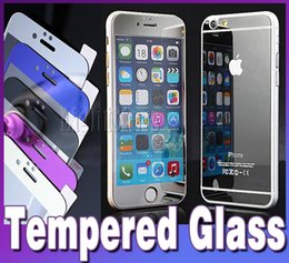Iphone 5 6s plus color plating tempered glass mirror colorful front and back screen protector tempered glass colorful film with retail box