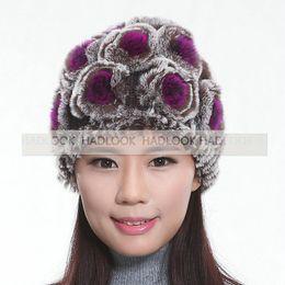 rabbit fur beanies hat Flower design winter warm Rabbit Fur Hat Beanie Women Fur Caps Headgear Real Fur Rabbit Hats Rose Chapeau For Winter