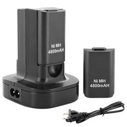 Descuento xbox dual Nueva doble muelle del cargador + 2 batería recargable de 4800mAh LED Luz carga para el mando Xbox 360 Por fin MicroSoft pista $ 18Nadie