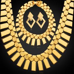Women Geometric Tassels Earrings Rock Stars Charm Bracelets Choker Necklaces 18K Gold Plated African Jewelry Sets