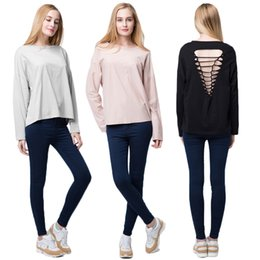 Wholesale New arrival Autumn Women Casual Hollow Out Basic T Shirt Cut Back Long Sleeve Pullover Boho Tops Blouses Camisetas Black Grey Pink G1419