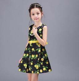 Wholesale Best price Spring summer fruits Puff princess dress printed sleeveless vest CM children s recreation fold baby girl skirt B45