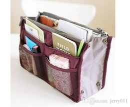 Bag In Bag Double Zipper Portable Multifunctional Travel Pockets Handbag Storage Bag Fadish Travel Cosmetic Makeup
