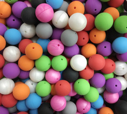 20mm Round Beads Silicone Teething Beads Round Shape Loose Beads Baby Safe Chewing Necklace Baby Nursing