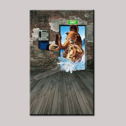Wholesale New Fashion Unframed Home Decor Canvas D Paintings on the Wall Art Prints Picture Canvas Elephant Painting for Kids Room Decor