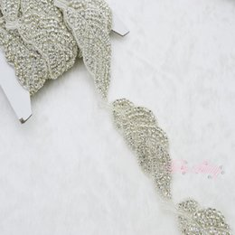 Wholesale Rhinestone Applique Trims Sold By Yard Fashion Clear For Wedding Dress Gowns Headwear DIY Wedding Decoration PR61 Wedding Accessories
