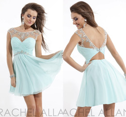 Wholesale 2015 Fresh Chiffon High School Homecoming Dresses Sheer Neck Crystal Beaded Cap Sleeves Backless Short Party Dress Junior Prom Gowns