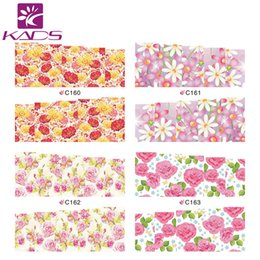 Wholesale LARGE C160 Set DESIGNS IN Water decal full cover Nail Stickers Flower design white background design nail decal