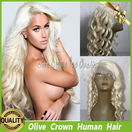 Full Lace Wig Color 60# Platinum Honey Blonde Human Hair Deep Body Wave Brazilian Virgin Remy Hair Lace Front Wig