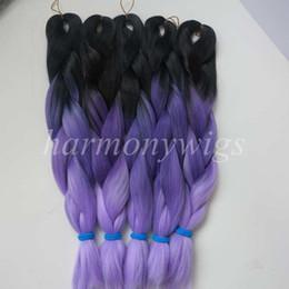 kanekalon jumbo braid hair 20inch 100g Black+Dark Purple+Light Purple Ombre Three tone Color Xpression Synthetic Braiding extension in stock