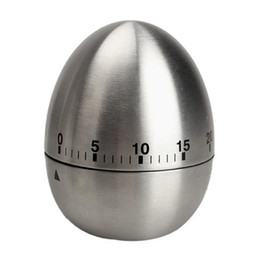 Wholesale Stainless Steel Egg Timers - Mechanical Dial Cooking Kitchen Timer Alarm 60 Minutes Stainless Steel Kitchen Cooking Tools Kitchen Egg Timer retail packaging for DHL ak62