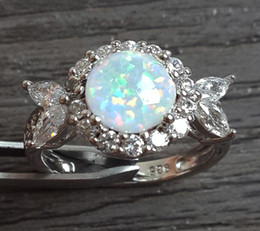 Free shipping manufacturer direct sale fashion jewelry TOP GRADE 925 silver stamped nice white fire opal rings