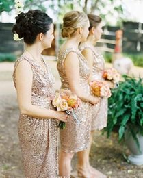 Bling Rose Gold Cheap 2019 Bridesmaid Dresses Short Sleeve Sequins Backless Knee Length Beach Wedding Gown Bridesmaid Dresses