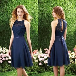 2016 New Navy Blue Short Bridesmaid Dresses Halter A Line Chiffon Knee Length Cheap Lace Top Cocktail Prom Dress CPS214