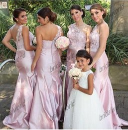 2016 Mermaid Bridesmaid Dress Sheer One-shoulder Sleeveless Backless Taffeta Wedding Party Dress With Beads Formal Gowns Natural Waist Miss