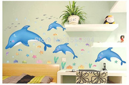 Wholesale Factory outlets removable waterproof PVC self adhesive wall stickers decorative painting bathroom series DLX9002 Blue Dolphin