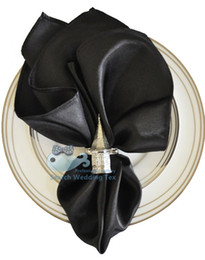 Wholesale Black Color Satin Table Napkin For Wedding Table Napkins not inculding the buckle