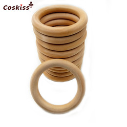 68mm(2.68inch) Nature Wooden Ring Teether Montessori Baby Toy Organic Infant Teething Toy Accessories Necklace DIY Baby Teether