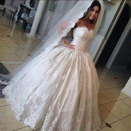 High Quality Lace Ball Gown Wedding Dresses 2016 Spring Summer Sweetheart Backless Bridal Gowns Floor Length Princess Vestidos De Novia