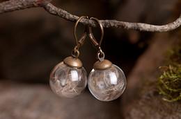16MM Glass Ball Dandelion seed Earring,Dandelion Seeds Earrings,Dandelion jewelry