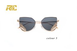 2018 stylish blazed mirrored sunglasses with mental angle wings for women men metal frame sunglasses chile free shipping