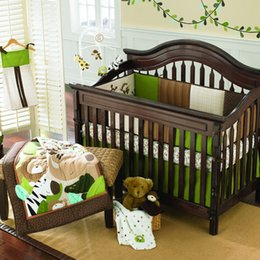 Wholesale 2016 Year Pieces Embroidered Monkeys frolic Baby Cot Crib Bedding Set include Quilt Bumper Mattress Cover Bed Skirt Blankets Diaper Bag