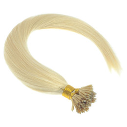 """DHL Free shipping 100% Brazilian human queen hair products 5A 16""""- 24"""" 1g s 100s set stick tip nano ring hair extensions 613# light blonde"""