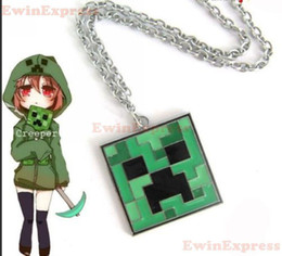Wholesale Green Silver Minecraft Gaming Block Creeper Pendant Jewellery Silver Necklace