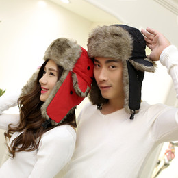 Wholesale Russian Canada Women Hat With Earflaps Ski Winter Hat For Men Bomber Hat Outdoor Snow Ear Flaps Cap Aviator Chapeu De Inverno