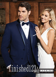 Two Button Royal Blue Groom Tuxedos Notch Lapel Groomsmen Best Man Wedding Prom Dinner Suits (Jacket+Pants+Vest+Tie) G5093