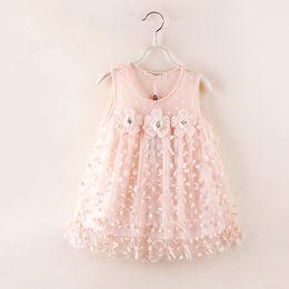 Wholesale Girls Lace Dress Childrens Fashion Clothing Girls Pretty Lace Flower Princess Dress Girls Party Dress p l