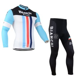 Wholesale Bianchi men cycling Jersey sets in winter autumn fall with long sleeve bike top bib pants in cycling clothing bicycle