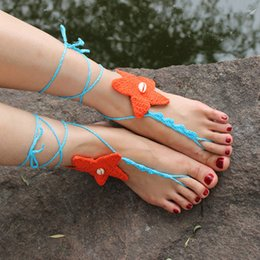 Wholesale Starfish Shell Anklet Fashion Cotton Ankle Bracelet Women Beach Foot Jewelry Barefoot Sandals AL071