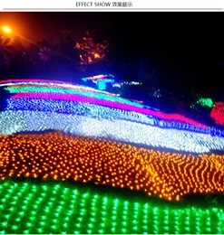 Promotion rgb led net NOUVEAU 1,5 * 1,5 m 200 Led 6 Modes Flash 220V Super lumineux Net String lumière Lumières de Noël Nouvel An lumière mariage Cérémonie