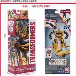 Wholesale Big Transformation Robot Transformer Brinquedos Bumblebee Model classic toys for boys cartoon gift with box hight cm w001C