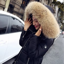 Wholesale 2015 High Quality luxury Real Big raccoon Fur Collar Plus Thick Winter Duck Down Jacket Women Coat Big Size parkas Long Overcoat M XL