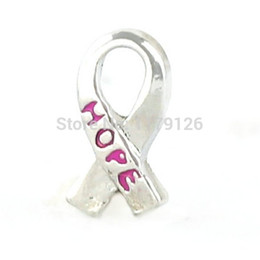 Wholesale-New Design Rose Red Hope Ribbon Floating Charms Fit Glass Locket Hot Selling Charms Floating