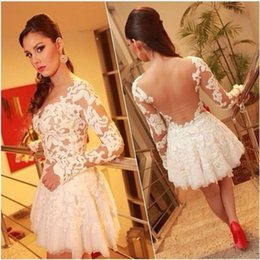 Wholesale Myriam Fares Short Prom Dresses White Lace In Stock Cheap Modest Sheer V Neck Illusion Bac Mini Party Gowns New Arrive Fashion Sexy