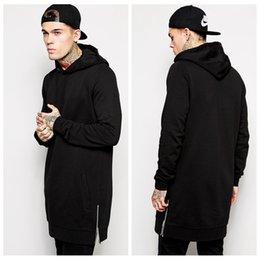Wholesale New Arrival Fleece Plus Size Men Hip Hop Streetwear Longline Side Zipper Hoodies Sweatshirts