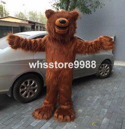 Wholesale High quality EVA Material Helmet Imitation fur brown bear Mascot Costumes Birthday party walking cartoon Apparel Adult Size