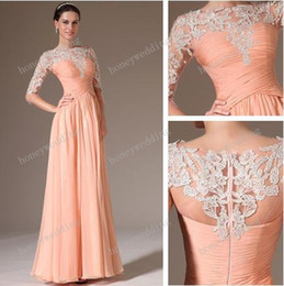 New Arrival Bridesmaid Dresses Chiffon Lace Peach Sheath Color Half Sleeve Evening Gowns Sheer Bateau Neck Long Honor Of Maid Dress Gown