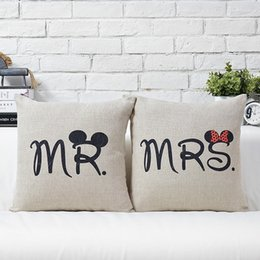 Wholesale 2015 New Ikea quot Valentine Couple Married Pillowcase Pillow Sofa Cushion Cover Linen for Chair Seat Hotel Decor Wedding Present