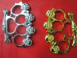 Wholesale 1 new Big head ghost THICK CHROMED STEEL BRASS KNUCKLES KNUCKLE DUSTER Powerful damage safety equipment self defense