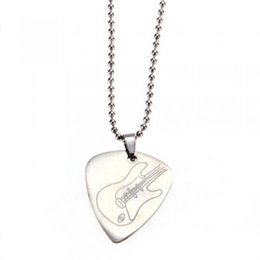Pick Pendant Necklace Chain Metal for Electric Guitar Bass Silver- Rock Style
