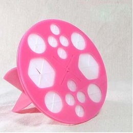 Wholesale Two colors Makeup Brush Holder Round Shape Folding Collapsible Air Drying Makeup Brush Organizing Tree Rack Holder