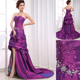 Wholesale Advanced Customization Sweetheart Beaded Appliques Flowers Ruffles Short Front Long Back Elegant Printed Prom Dresses Purple Trend