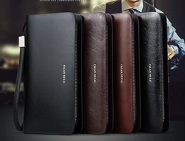 Wholesale Flange muller young man holding a long wallet zipper bag men s bags large capacity leather business wallet