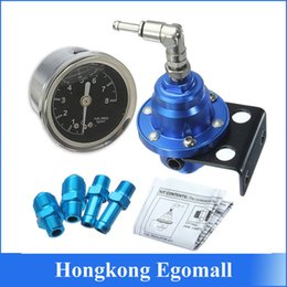 Wholesale Superior Adjustable Fuel Pressure Regulator With Filled Oil Gauge Aluminum Blue