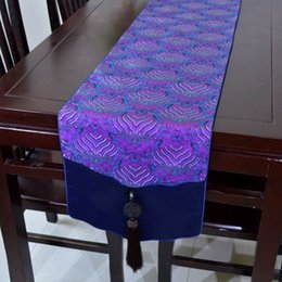 Jade Patchwork Wave Table Runners Luxury Chinese style Silk Brocade High End Table Cloth for Wedding Festive Party Decoration