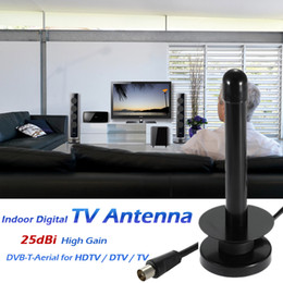 Wholesale W25 Indoor Digital TV Antenna dBi High Gain Full HD p VHF UHF DVB T Aerial F IEC Male Connector for HDTV DTV TV V1905